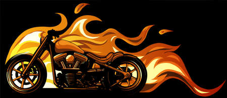 custom motorcycle with flames vector illustration design Vectores