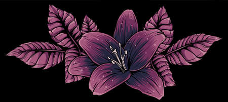 vector illustration of lily flower with leaves Foto de archivo
