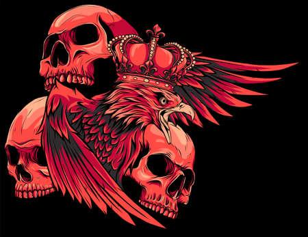 vector illustration of king Eagle and Skulls