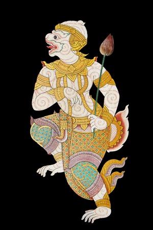 Mudchanu son of mokey king Hanuman isolated on black  photo