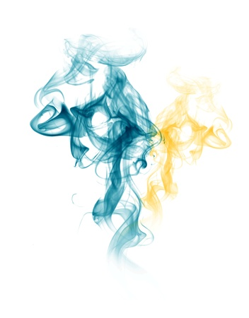Smoke form blue and yellow photo