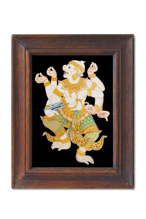 Hanuman isolated gold and black  in wooden frame photo