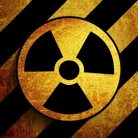 grunge retro vintage rusty old nuke sign background  Stock Photo - 9708591