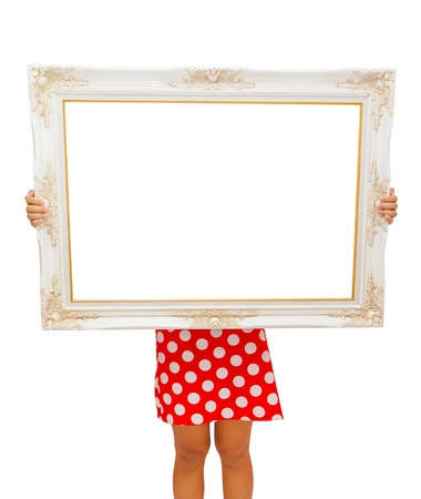 Red dress girl holding luxury wooden frame in her hand  photo