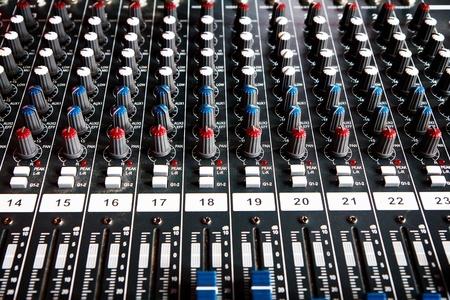 loud speakers: Audio mixer volume control  Stock Photo