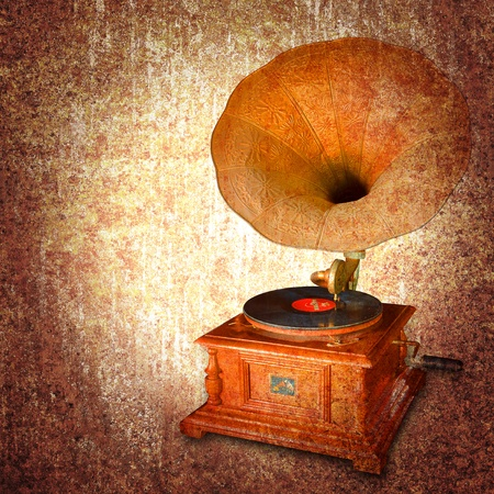 abstract melody: Old metal rusty grunge retro vintage paper background with cd player  Stock Photo