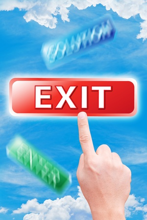 dictatorial: hand point to exit button