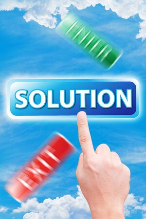 dictatorial: hand point to solution Stock Photo