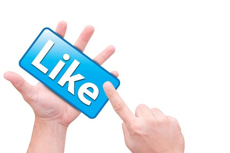 hand point to like button Stock Photo - 9816707