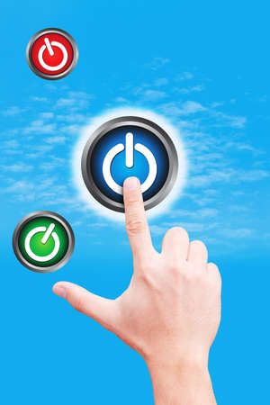 dictatorial: hand point to power button on the sky