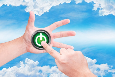 clound: hand point to power button on the sky