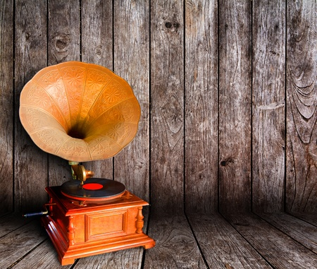 cd cover: Old vintage cd player in wooden room