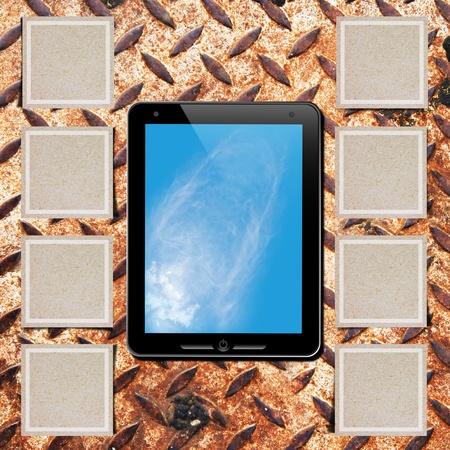 dictatorial: Touch pad on grunge rusty iron diamond steel
