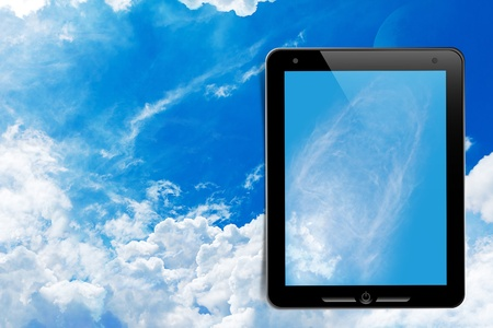 dictatorial: touch pad on the sky Stock Photo