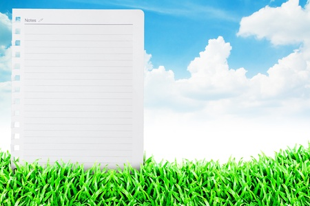 white paper on the Grass field and cloudy sky background  photo