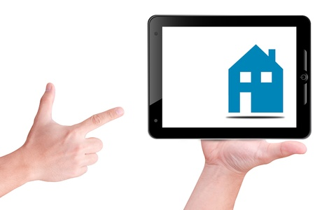 smart home: hand take house icon on the sky