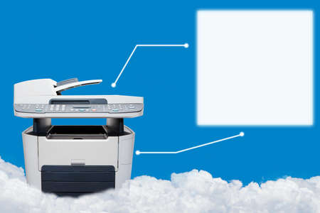 ink jet: A multi function printer on the sky Stock Photo