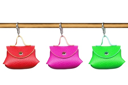 Color purse on white background  photo