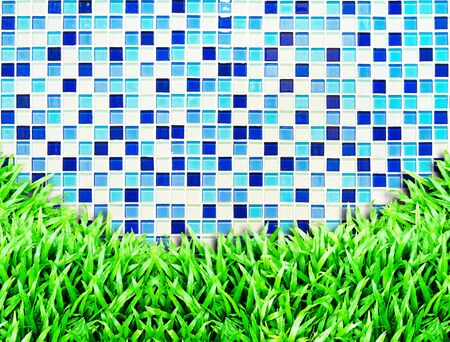 mosaic tiles texture with grass Stock Photo - 10322306