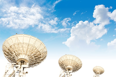 parabolic: large three satellite dish