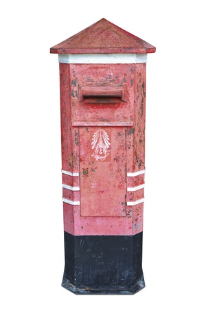 Red vintage post box in thailand  photo