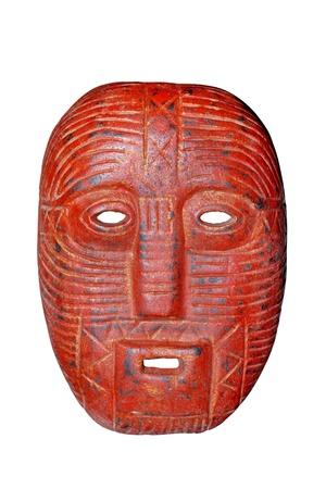 the tribe: m�scara de madera roja Foto de archivo
