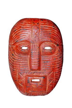 warrior tribal: red wooden mask