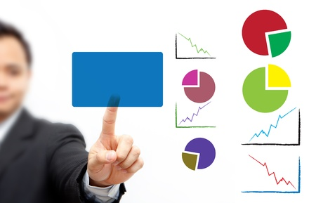 Business man pressing button Chart Stock Photo - 11123004