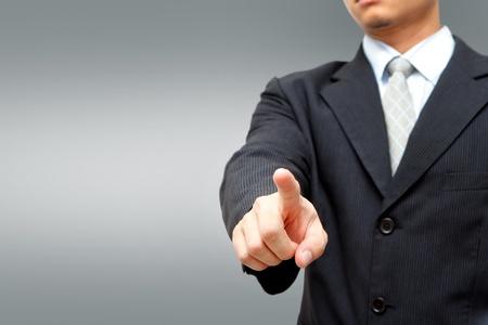 dedo se�alando: Hombre de negocios presionando