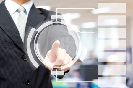 screen partition: Business man pressing button Chart  Stock Photo