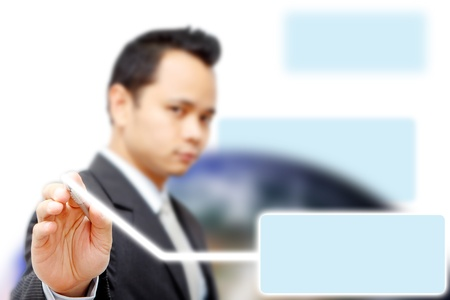Business man point to blue space box  Stock Photo - 11123009