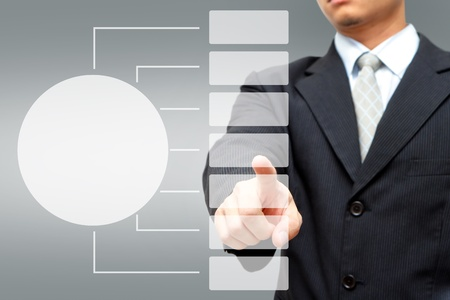 screen partition: Business man pressing white button Chart  Stock Photo