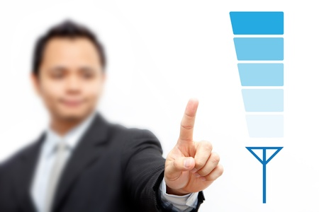 screen partition: Business man to blue signal level Stock Photo