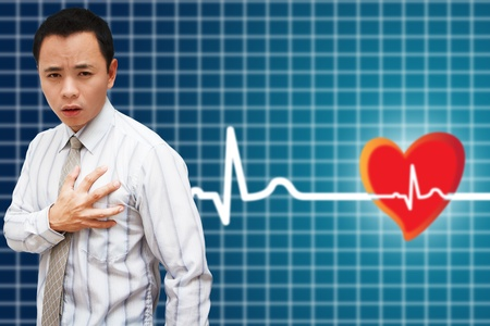 Heart Attack Asia Business man Stock Photo - 11377810