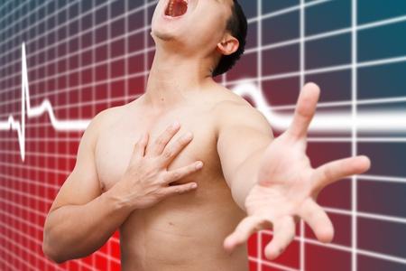 dolor de pecho: Ataque al corazón de Asia hombre Foto de archivo