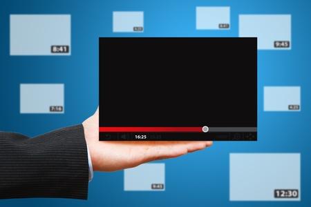 hidef: business man hold Video window