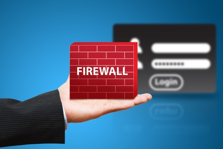 firewall: Business man hold firewall to protect login user