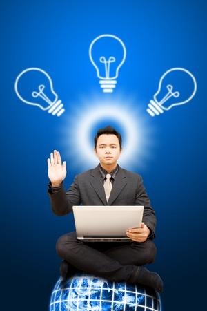 Business man Achieve and got idea  Stock Photo - 11801347