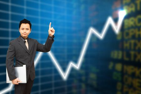 Business man present the Report graph Stock Photo - 11801332