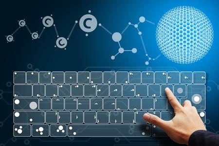 Smart hand press on keyboard layer photo
