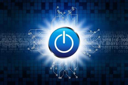 creative power: Power button on digital background Stock Photo