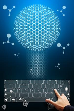 Smart hand press on keyboard photo