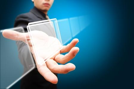 Intelligente Hand halten Sie die Digital-Fenster Standard-Bild - 12048529