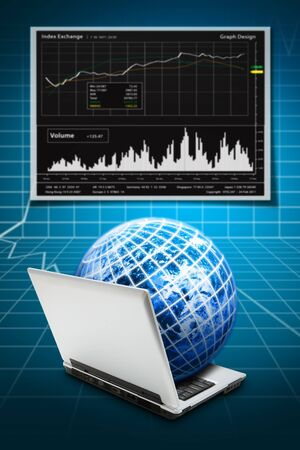 Digital world and stock exchange graph report  Stock Photo - 12048569