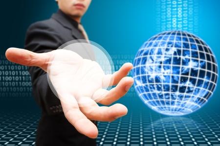 digital globe: Business man and digital globe background