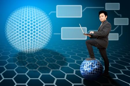Business man step on digital world and link to digital nano ball photo