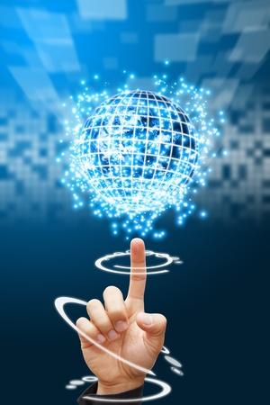 nano: Smart hand point to digital world background  Stock Photo