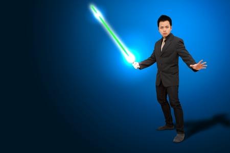 solves: Smart business man hold The laser sword