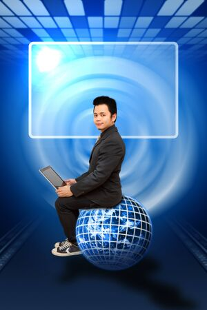 Smile Business man sit on digital earth Stock Photo - 12048933