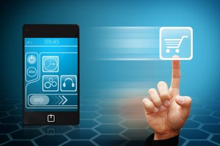 Toucher de la main intelligente de l'ic�ne du panier depuis un t�l�phone mobile